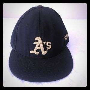 A's Black Cap with Gold Crystals